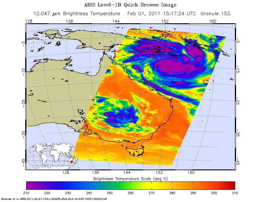 Image en infrarouge prise le 2 février à 15 h TU, soit la fin de nuit à l'est de l'Australie), par l'instrument AIRS (Atmospheric Infrared Sounder) du satellite de surveillance météorologique Aqua. © Nasa/JPL-Caltech