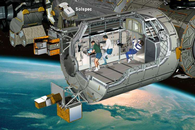 Le module Colombus équipé de l'expérience Solspec. Crédit : ESA, D. Ducros