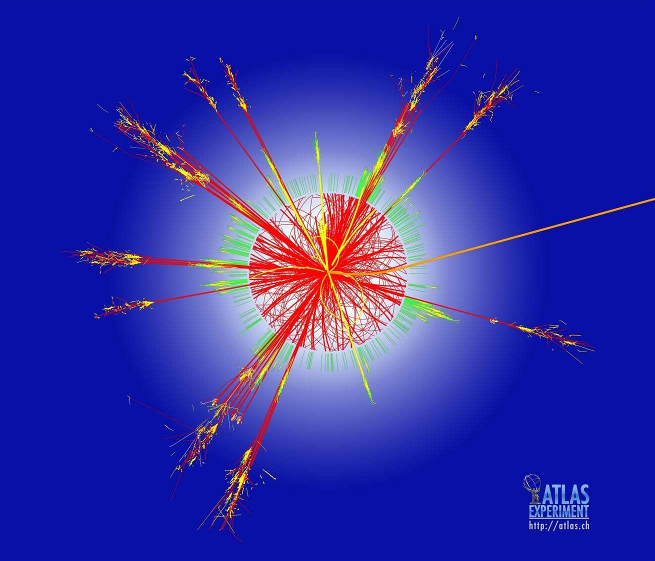 Cette trace est un exemple des simulations des réactions issues de collisions de protons dans le détecteur Atlas du Grand collisionneur de hadrons (LHC) au Cern. Ces traces seraient produites si un minitrou noir était créé. On le verrait alors en train de s'évaporer presque instantanément en particules variées par le biais d'un processus connu sous le nom de rayonnement de Hawking. En l'occurrence, la signature de cette évaporation serait très nette avec des flux de leptons, de photons anormaux et des jets de quarks. © Cern