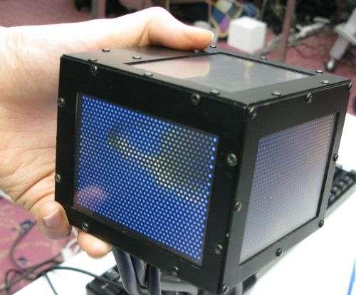 Le prototype affiche une image difficilement lisible. Mais elle est bien là... © NICT