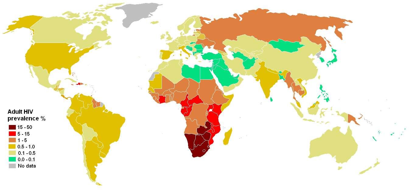 Carte montrant la prévalence du VIH dans le monde en 2007. © Wikimedia Commons, DP