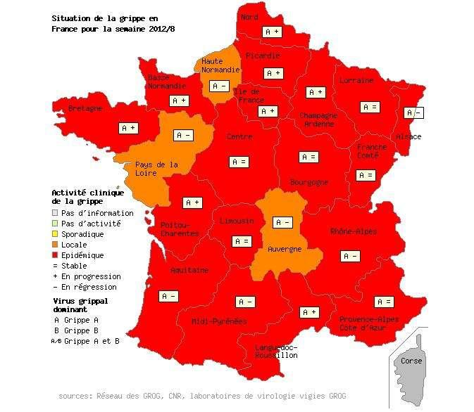 L'épidémie de grippe affecte toute la France. Seules 3 régions ne sont pas au-dessus du seuil épidémique, fixé à 147 cas pour 100.000 habitants : la Haute-Normandie, les Pays de la Loire et l'Auvergne. © Grog