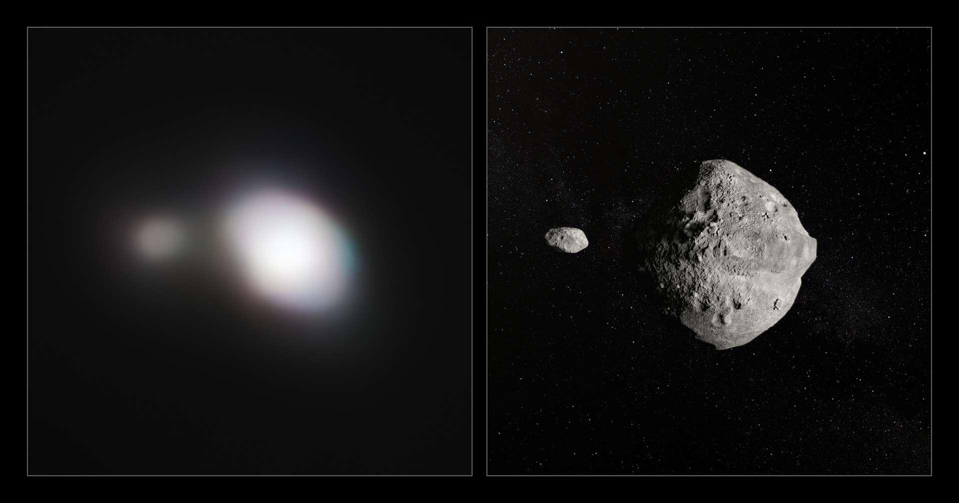 À gauche, image la plus détaillée de l'astéroïde 1999 KW4, qui possède sa propre lune, prise par l'instrument Sphere équipant le Very Large Telescope (VLT), à son passage au plus près de la Terre le 25 mai 2019. À droite, vue d'artiste de l'astéroïde et de son petit compagnon. © ESO