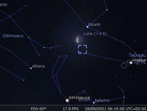 La Lune en rapprochement avec Elnath et la nébuleuse du Crabe