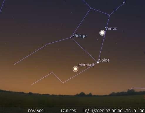 Plus grande élongation de Mercure à l'ouest du Soleil