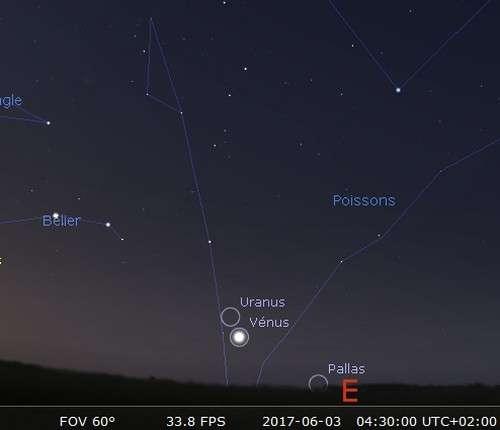 Plus grande élongation de Vénus à l'ouest du Soleil et rapprochement avec Uranus