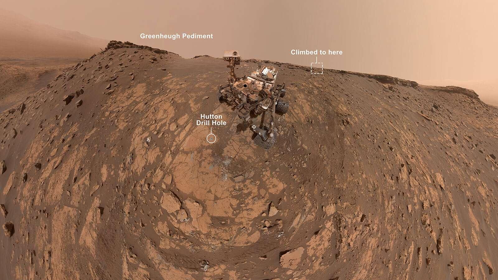 Le selfie pris par Curiosity avant son ascension du glacis de Greenheugh, le 26 février dernier. © Nasa, JPL-Caltech, MSSS