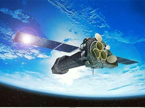 XMM Newton en orbite autour de la Terre, vue d'artiste. Crédit : Esa