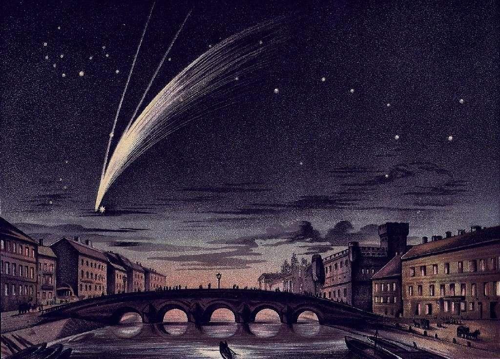 La comète Donati représentée par E. Weiß le 5 octobre 1858 passant à côté de l'étoile Arcturus dans la constellation du Bouvier.