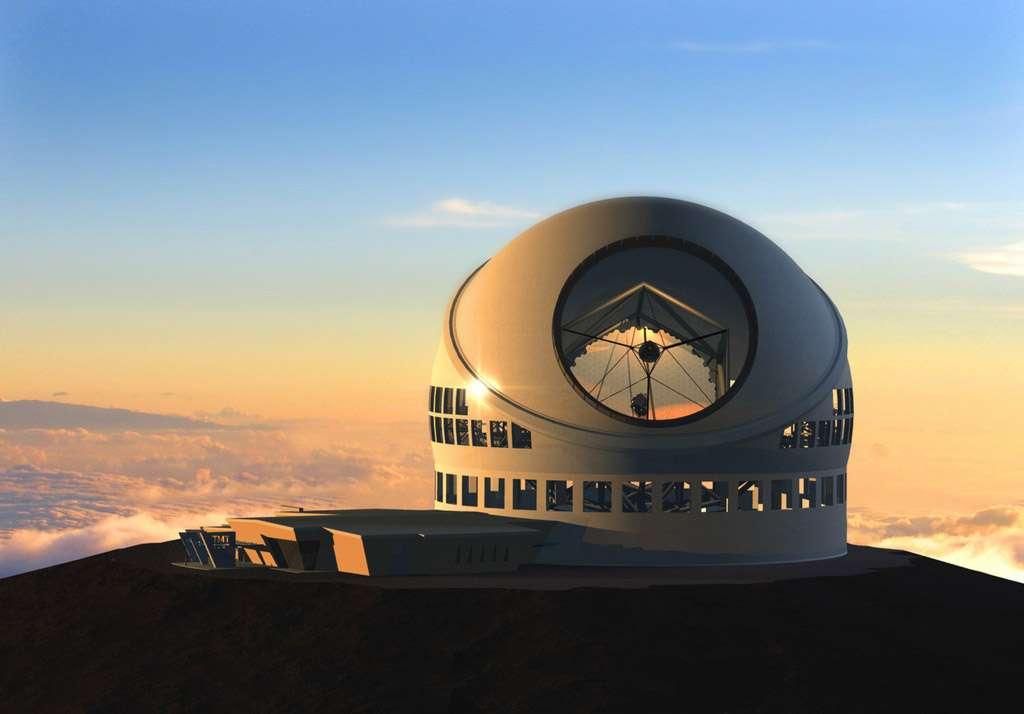 Les premières lumières du TMT sont prévues en 2018. Le polissage du premier segment a débuté ainsi que le développement de divers composants du télescope, de l'optique adaptative et du système de contrôle de ces miroirs hexagonaux. Crédit Thirty Meter Telescope Project (TMT)