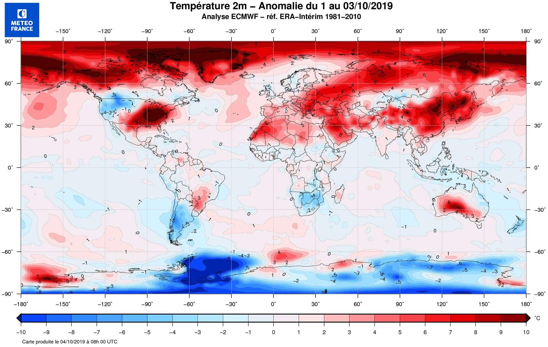 Anomalies de température du 1er au 3 octobre dans l'hémisphère nord. © Météo France