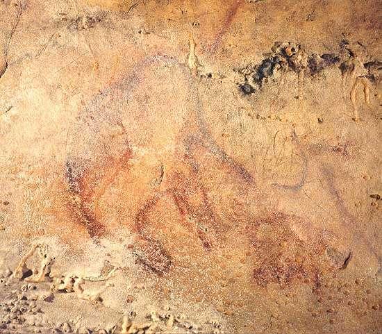Vue d'un petit mammouth dessiné au plafond de la Salle des Vagues dans la grotte d'Arcy-sur-Cure (photo dans D. Baffier et M. Girard, 1998, p. 80 - Université de Liège).