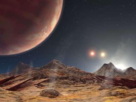 Vue d'artiste du système planétaire HD 188753, sa planète et ses 3 étoiles !