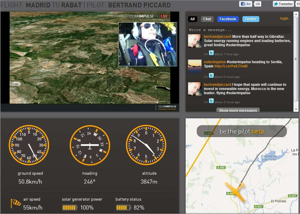 La situation vers 12 h 30, après 7 heures de vol : l'avion solaire de Bertrand Piccard arrive à Séville. Il vole à 3.800 m au-dessus du niveau de la mer, à une bonne vitesse : 60 km/h par rapport au sol. Ses batteries sont en train de se recharger et en sont à 86 %. © Solar Impulse