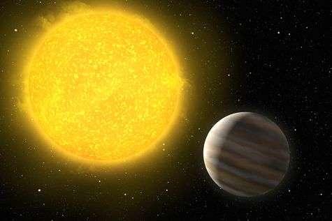 Vue d'artiste de Ogle-TR-L9b. La proximité de son étoile porte l'atmosphère de la planète à une très haute température, la dilatant considérablement. Crédit : ESO/H. Zodet
