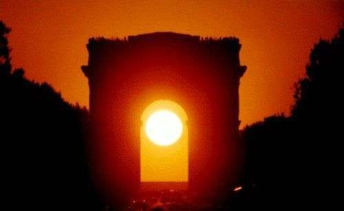 Illustration : Coucher de Soleil dans l'axe de l'Arc de Triomphe, à Paris, le 11 mai 2001. Objectif de 300 mm sur film 200 Asa Fujicolor. © Gilles Dawidowicz, Association pour la création et la diffusion scientifique