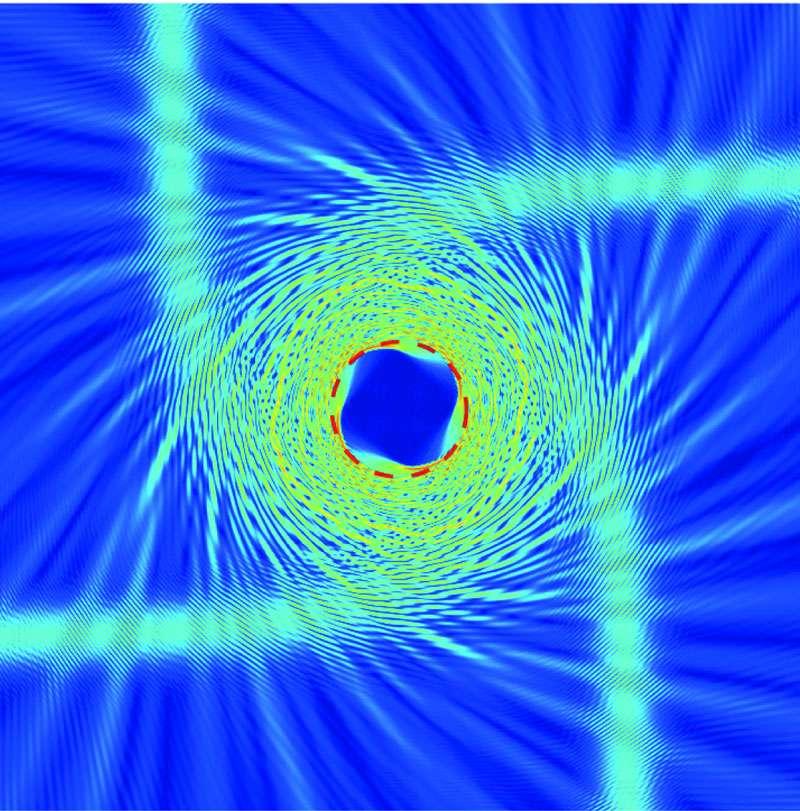 Un métamatériau en GaInAsP dévie les rayons lumineux à la façon dont le ferait un trou noir dans certaines conditions. C'est ce qui se passe ici. Crédit : Berkeley Lab