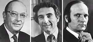 John Bardeen, Leon Cooper, J. Robert Schrieffer. Crédit : Université Warwick