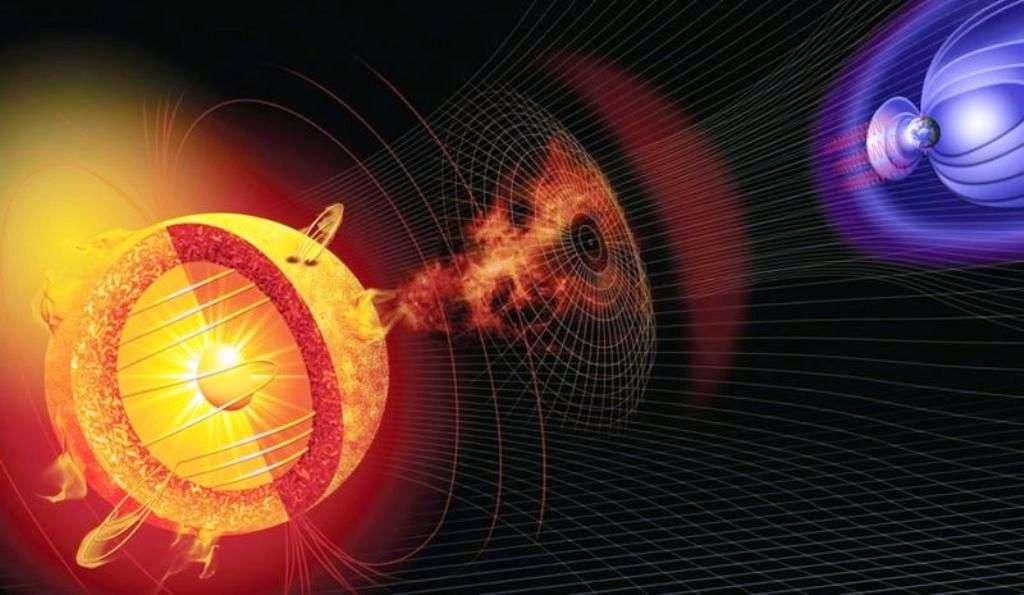 Une image d'artiste montrant une éruption solaire et les lignes de champs magnétiques des magnétosphères de la Terre et du Soleil dans lesquelles se propagent les électrons tueurs. © Nasa