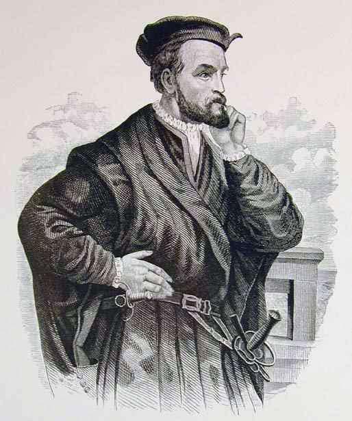 Gravure représentant Jacques Cartier. Le navigateur a pris part à trois expéditions en Amérique du Nord. © Pierre-Louis Morin, Wikimedia Commons, DP