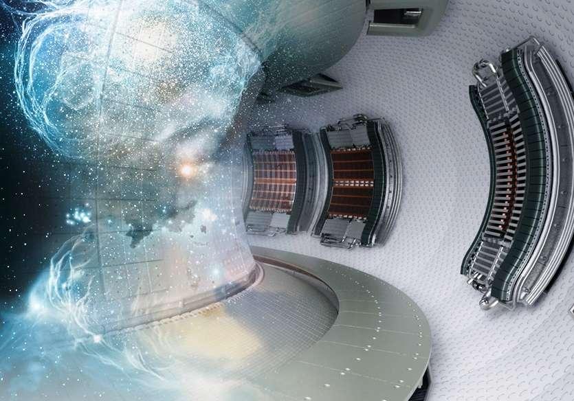 Pour s'approcher un peu plus de la maîtrise de l'énergie des étoiles, on doit tester le comportement d'un divertor en tungstène refroidi et son effet sur le plasma d'un réacteur à fusion thermonucléaire. C'est le projet West qui consiste à modifier le tokamak Tore Supra de Cadarache. Cette vue d'artiste montre à quoi ressemblera l'intérieur du réacteur dans quelques années. On voit sur la droite les sorties des antennes utilisées pour chauffer le plasma en injectant des ondes électromagnétiques. © CEA