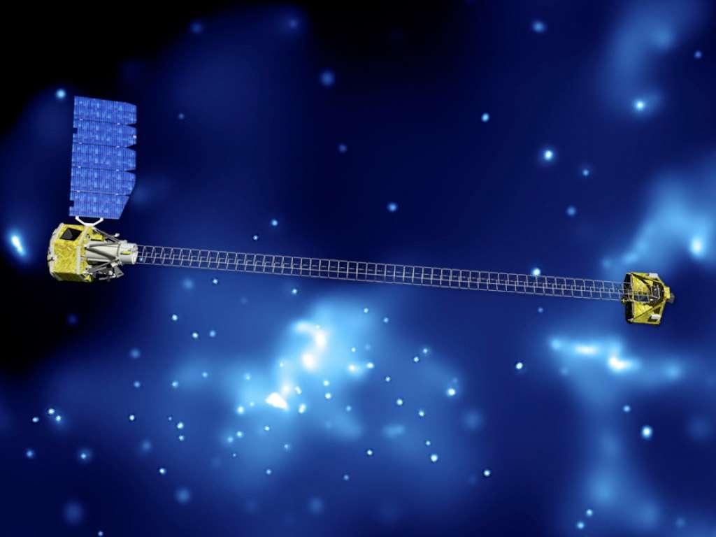 Petit satellite de 360 kilogrammes du programme Explorer de la Nasa, Nustar se déploiera en orbite pour mesurer plus de 10 mètres. Premier satellite conçu pour détecter les rayons X durs, il contribuera grandement à mieux comprendre les trous noirs. © Nasa/JPL-Caltech
