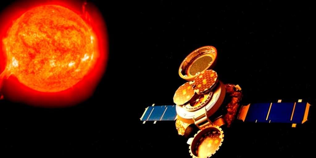 Une vision d'artiste de Genesis collectant des particules de vent solaire. © Nasa