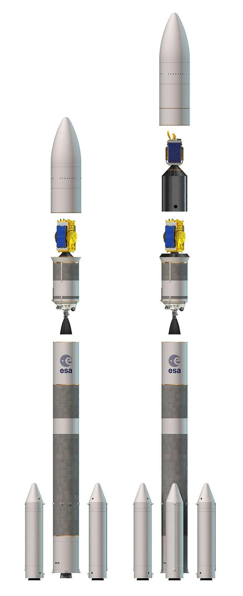 Les deux lanceurs de la famille Ariane 6 ont été officialisés en décembre 2014. Il existe la version à deux boosters (ou propulseurs d'appoint), destinée aux satellites institutionnels, et la version à quatre boosters, pour les marchés commerciaux. © Esa, D. Ducros