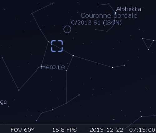 La comète Ison en rapprochement avec M13