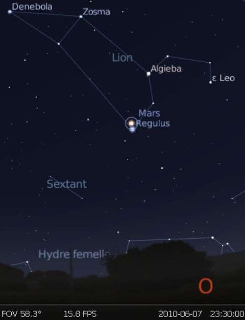 La planète Mars est en rapprochement avec l'étoile Régulus