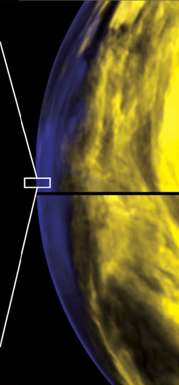 Lancée en 2005, Venus Express, une sonde de l'Esa, étudie l'atmosphère de Vénus. Ici, l'instrument Virtis (Visible and InfraRed Thermal Imaging Spectrometer) s'intéresse à l'analyse spectrale de l'atmosphère au niveau du limbe atmosphérique (dans le rectangle blanc). © Virtis/Venus Express/Esa