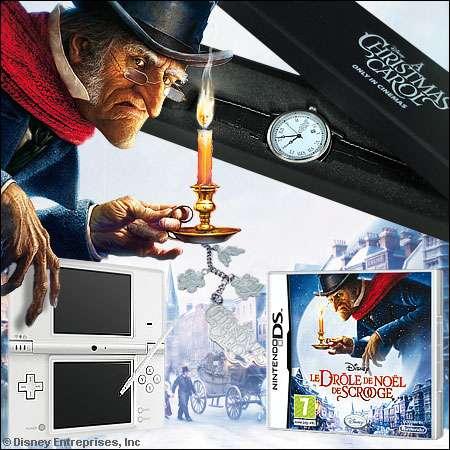 """Les lots du concours """"Le drôle de Noël de Scrooge"""" : 1 console DSi et un jeu Scrooge, 35 x 2 places de cinéma, 10 montres, 25 porte-clés - Crédits DR."""