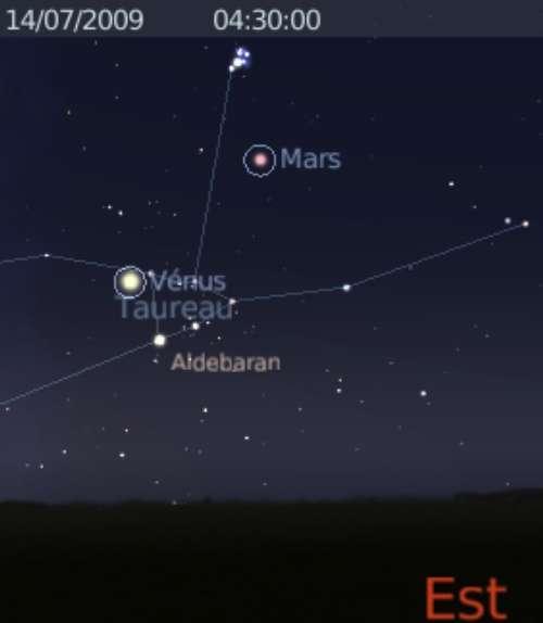 La planète Vénus est en rapprochement avec l'étoile Aldébaran