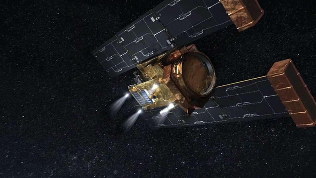 La sonde Stardust (ici une image d'artiste) vient de vider son réservoir. Elle est en panne sèche jusqu'à la fin des temps sur une trajectoire qui ne lui permet pas de rencontrer la Terre. © Nasa/JPL/Caltech/