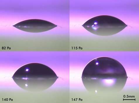 Le rayon de courbure de la lentille liquide augmente avec sa pression