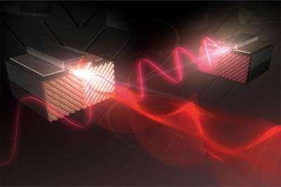 Une représentation d'artiste de lasers à cascade quantique équipés d'un polariseur plasmonique permettant de générer à volonté des faisceaux polarisés linéairement ou circulairement. Crédit : Laboratory of Federico Capasso, Harvard School of Engineering and Applied Sciences