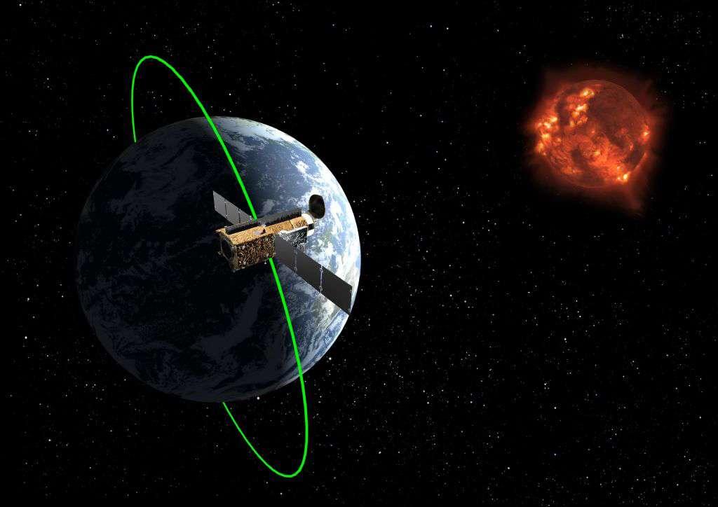 Une vue d'artiste de Hinode en orbite autour de la Terre et observant le Soleil. © Japan Aerospace Exploration Agency