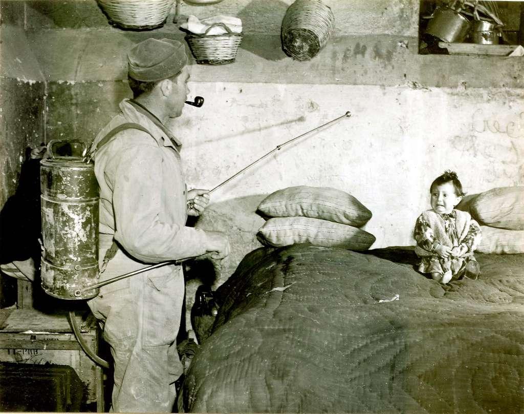 Sur cette image, on peut apercevoir un soldat américain pulvérisant du DDT dilué à 10 % dans du kérosène pour lutter contre le paludisme en Italie. Avec les années, les scientifiques se sont rendu compte de ses méfaits sur l'environnement et la santé. Pourrait-il être à l'origine de la maladie d'Alzheimer ? © Lamiot, Wikimedia Commons, cc by 2.0