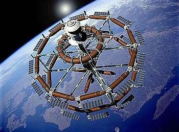 En 1999 déjà, le groupe Hilton avait élaboré ceprojet d'hôtel de l'espace construit au départ deréservoirs de la navette spatiale, seule partiede l'engin non réutilisée. Crédit : Nasa
