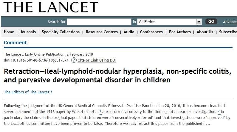 Un cas rarissime : un article annonce qu'une étude précédemment publiée est nulle et non avenue. © The Lancet