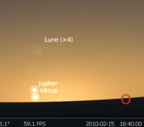 La Lune est en rapprochement avec les planètes Jupiter et Vénus