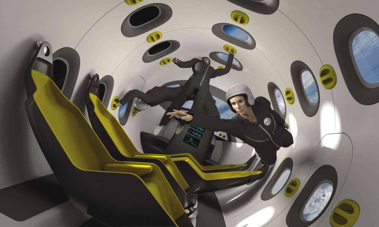 Les passagers flottent dans la cabine du SpacePlane d'Astrium. Derrière les hublots, la Terre. (Image de synthèse.) © EADS Astrium / Marc Newson Ltd