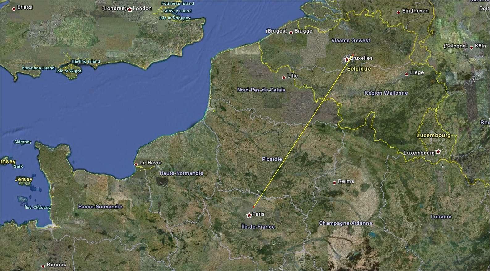 Le trajet Brussels Airport - Paris-Le Bourget vu sur Google Earth : 260 kilomètres sur une route à 215°. © Google Earth