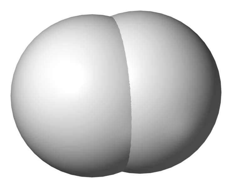 Molécule de dihydrogène © B. Mills, domaine public