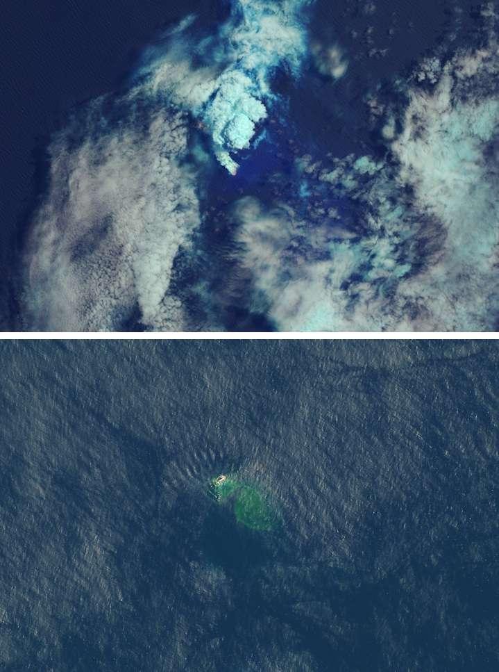 Les îles Tsonga ont connu une série d'éruptions en octobre 2019. Lorsque le panache s'est estompé, les scientifiques ont constaté l'existence d'une nouvelle île. En haut : image prise le 16 octobre. En bas, le 17 novembre. © Lauren Dauphin, Nasa Earth Observatory