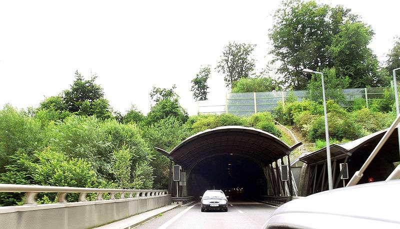 Ce passage à faune est conçu sous la forme d'un talus traversé par la route. Les barrières anti-bruits visibles ici ont pour but de réduire le dérangement produit par le trafic routier. © F. Lamiot, Wikimédia CC by 2.5