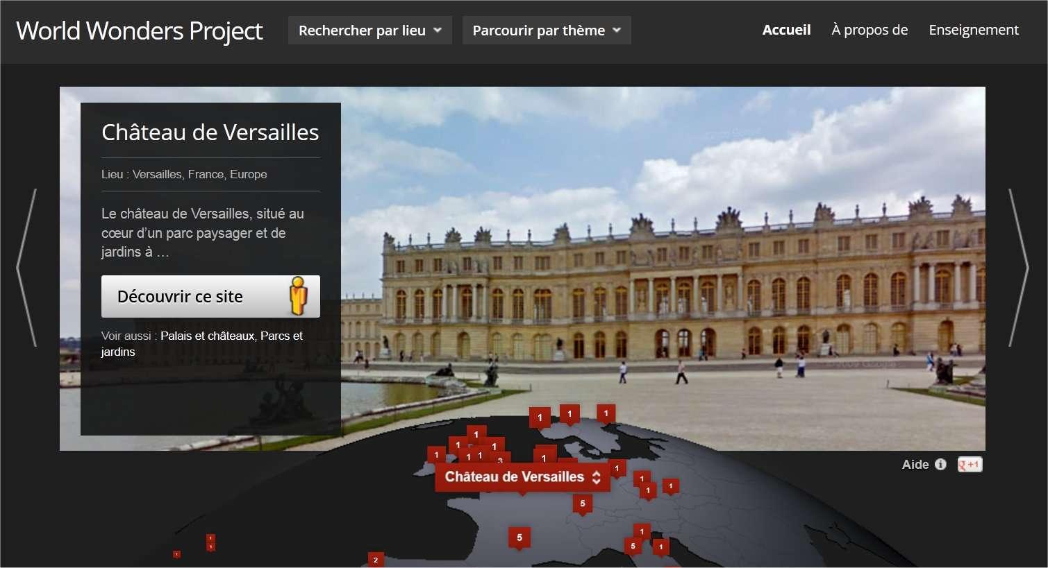 World Wonders propose un classement géographique ou par thème pour choisir un lieu de promenade parmi ceux proposés (130 actuellement). © Google