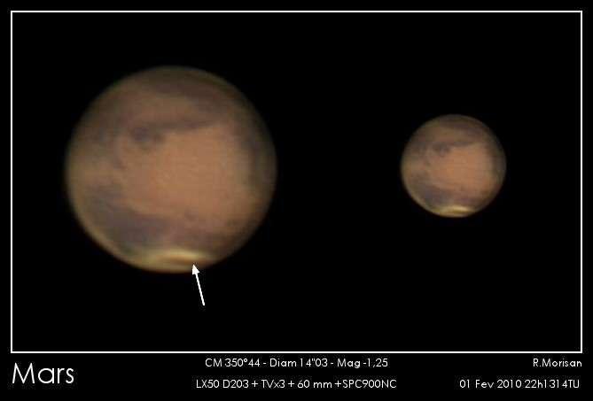 Cette image d'une exceptionnelle qualité prise le 1er février avec un télescope de 20 cm de diamètre confirme qu'une tempête de poussière se développe sur la calotte polaire boréale. Crédits : R. Morisan