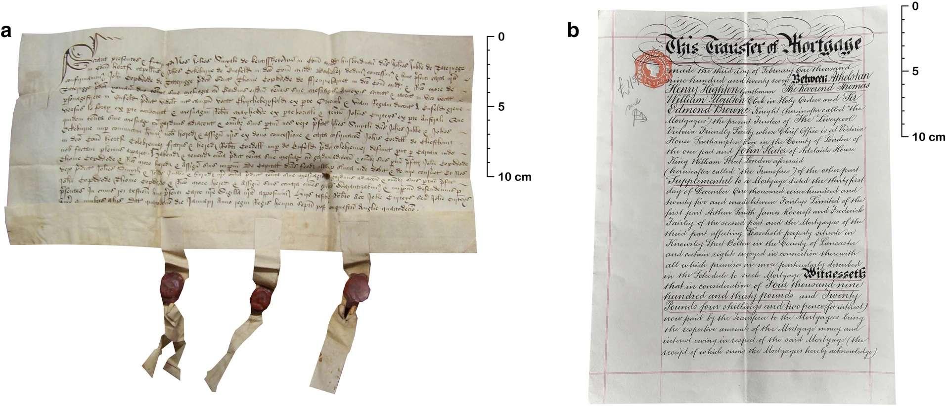 a) Titre de propriété datant du 15 janvier 1499. b) attestation d'emprunt datant du 3 février 1927. © Dave Lee, Sean Paul Doherty