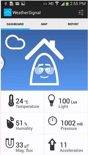 Les concepteurs d'OpenSignal ont récemment lancé une nouvelle application Android, WeatherSignal, qui exploite les informations fournies par les capteurs présents dans les smartphones les plus évolués : pression atmosphérique, humidité, luminosité, température extérieure, etc. Ils comptent s'appuyer sur les données que les utilisateurs acceptent de fournir pour produire des prévisions météorologiques mises à jour en temps réel et sur des zones géographiques resserrées. © OpenSignal